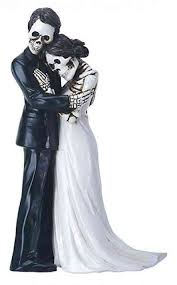 sugar skull cake topper day of the dead skulls groom holding wedding cake topper
