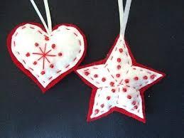 beaded felt star and heart felt christmas ornaments how to diy