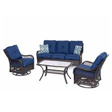 Blue Outdoor Cushions Shop Hanover Outdoor Furniture Orleans 4 Piece Wicker Patio