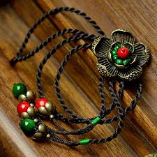 fashion jewelry red necklace images Vintage necklace women bronze flower pendant red natural stone jpg