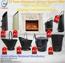 2016 fireplace accessories ash coal bucket powder coated black