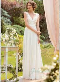 flowy wedding dresses jol226 modest lace strappy v neck flowy chiffon wedding dress