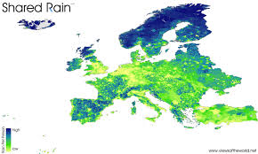 European Weather Map shared rain views of the world