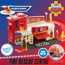 sam die cast fire rescue centre playset helicopter