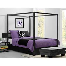 Dhp Modern Canopy Metal Queen Size Bed Frame In Gunmetal Grey
