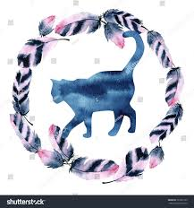 watercolor cat silhouette beautiful feather wreath stock