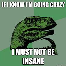 if i know i m going crazy i must not be insane philosoraptor