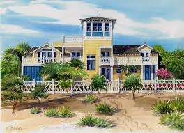 11 x14 watercolor portrait of florida beach house created by