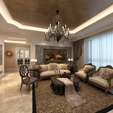 beautiful elegant living room decor with nice artistic ceiling