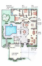 interior courtyards house plans with courtyard pool 3sj hahnow