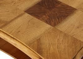 art deco beech table with walnut intarsia fryderyk danielczyk store