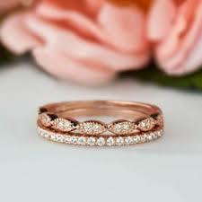 3 4 diamond eternity rings 14k rose gold antique art deco wedding
