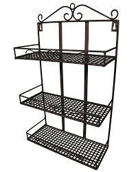 étagère en fer forgé pour cuisine etagère murale porte panier 3 corbeilles ou support porte epices 3