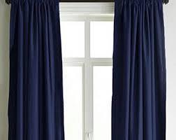 Navy Curtain Navy Curtains Etsy