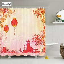 Asian Curtains Shower Curtain Bathroom Accessories China Asian Landscape Lanterns