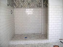 white subway tile bathroom wood floor cylinder black classic glass