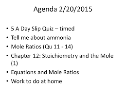 agenda 2 20 a day slip quiz u2013 timed tell me about ammonia mole