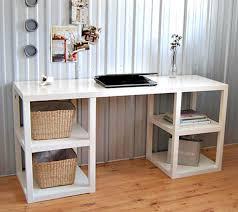 Clean Computer Desk Home Office Furniture Ikea Attractive Cream Maple Wooden Rustic