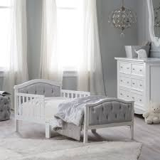 crib and toddler mattress orbelle upholstered toddler bed gray french white hayneedle