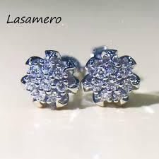 diamond cluster earrings aliexpress buy lasamero 0 168 ctw diamond cluster