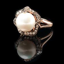 pearl and diamond engagement rings engagement wedding rings