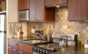 Brown Cabinet Slate Backsplash Tile Mosaic In Case I Cant Afford - Mosaic kitchen tiles for backsplash
