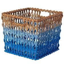 fade up rattan cube basket aqua the land of nod