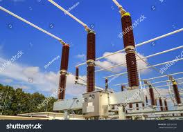 modern electrical switches high voltage switchyard modern electrical substation stock photo