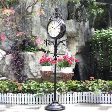 Outdoor Pedestal Clock Thermometer 15 U201d Double Sided Weather Station And Plant Hanger Timuxe