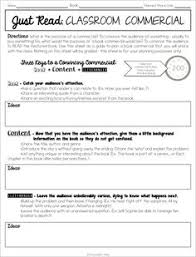book review template a book commercial 1st grade literacy