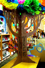 cardboard tree library display from moani how magical