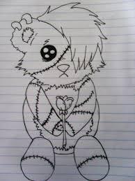drawn teddy bear emo pencil and in color drawn teddy bear emo