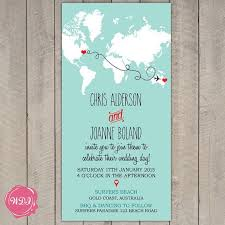 wedding invitations gold coast destination wedding invitation map world travel theme