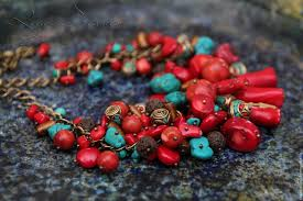 large red bead necklace images Necklace sea treasure coral red a large bunch on the chain jpg