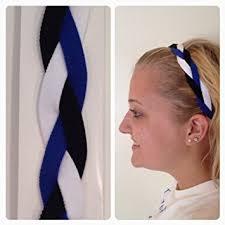 white and blue headband fabulici blue black white braided headband softball