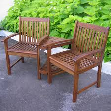 Wood Outdoor Chairs Shop International Caravan 3 Piece Oiled Acacia Wood Patio