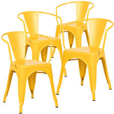 cantina yellow arm chair set of 4 hd 113 yel x4 the home depot
