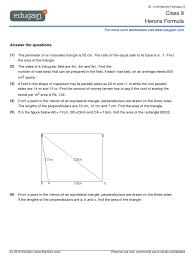 grade 9 herons formula worksheet area triangle