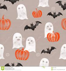halloween themed background halloween seamless background with ghosts and pumpkins stock
