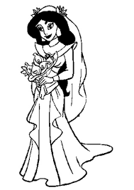 jasmine in wedding dress coloring pages