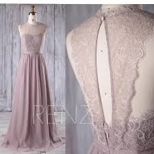 key back wedding dress gray chiffon lace bridesmaid dress key back wedding