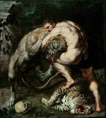 hercules fighting the nemean lion mythology pinterest