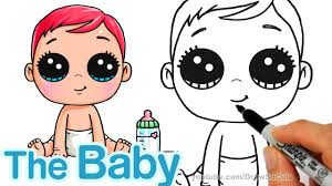 how to draw a cute baby step by step easy storks movie youtube