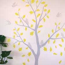 100 bird and tree wall stickers online shop removable pvc yellow and grey bird tree wall stickers by parkins interiors