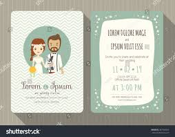 Marriage Invitation Card Wedding Invitation Card Template Cute Hipster Stock Vector