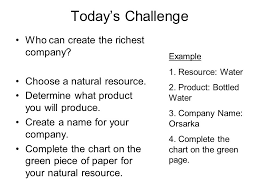 Water Challenge Directions 1 Objective Read Swbat Identify The Levels Of Economic Activity