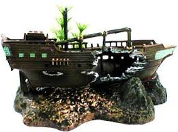 penn plax sunken ship ornament
