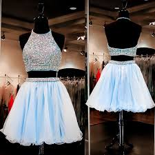 dresses for prom fashion halter beading two pieces blue homecoming dress prom gown