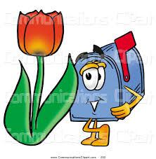 communication clipart of a grinning blue postal mailbox cartoon
