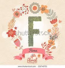 monogram websites vintage floral monogram made green leafs stock vector 232740709